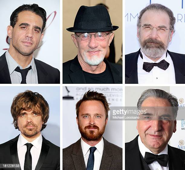 In this composite image a comparison has been made between the 2013 Emmy Nominees For Outstanding Supporting Actor In A Drama Series Jim Carter...