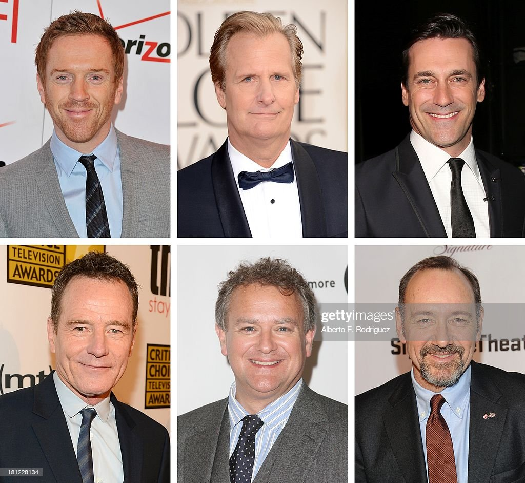 In this composite image a comparison has been made between the 2013 Emmy Nominees For Outstanding Lead Actor In A Drama Series. Actor <a gi-track='captionPersonalityLinkClicked' href=/galleries/search?phrase=Kevin+Spacey&family=editorial&specificpeople=202091 ng-click='$event.stopPropagation()'>Kevin Spacey</a> attends The Signature Center Opening gala on January 30, 2012 in New York City.