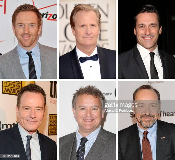 In this composite image a comparison has been made between the 2013 Emmy Nominees For Outstanding Lead Actor In A Drama Series Actor Kevin Spacey...