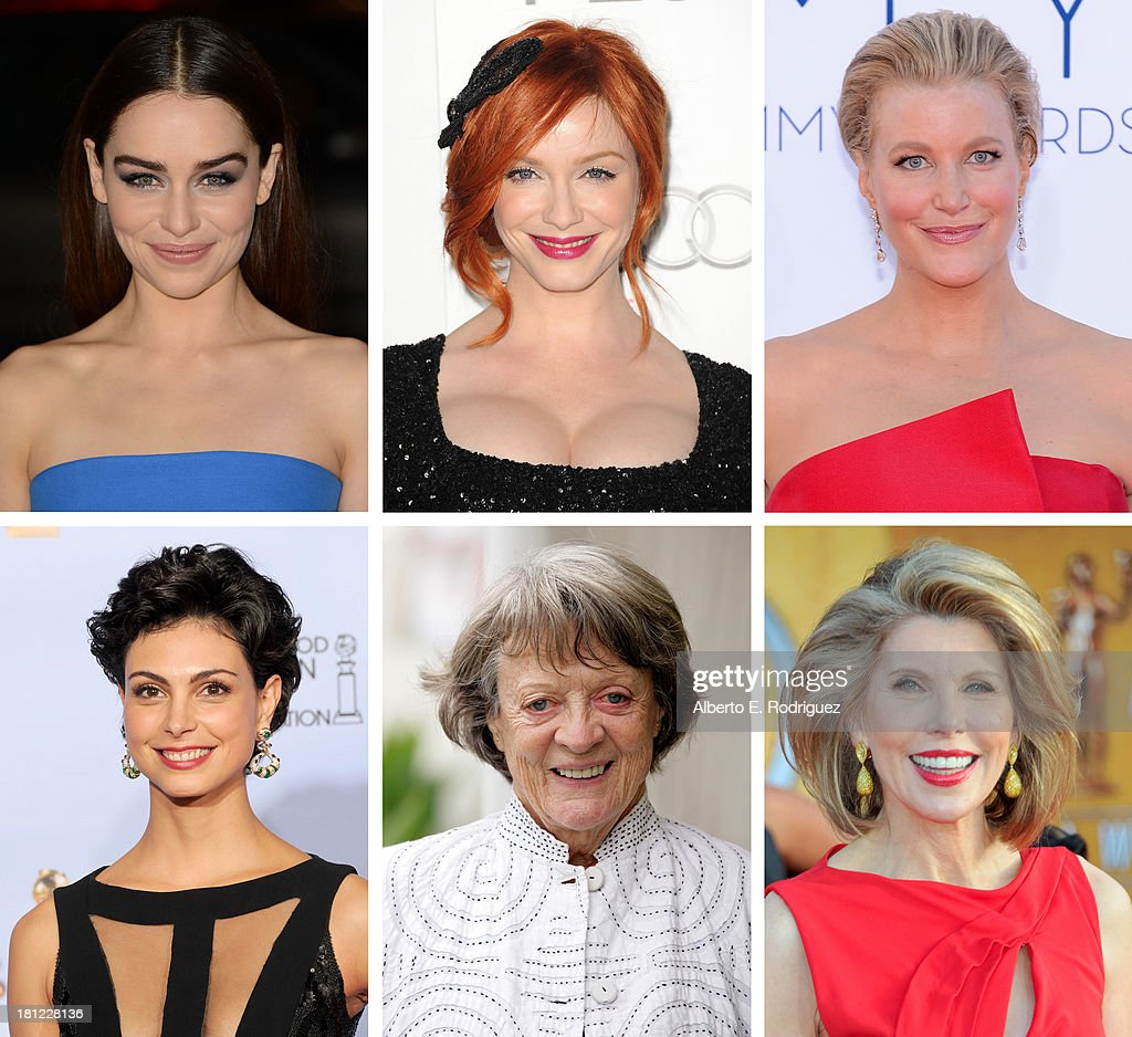 In this composite image a comparison has been made between the 2013 Emmy Nominees For Outstanding Supporting Actress In A Drama Series. Actress <a gi-track='captionPersonalityLinkClicked' href=/galleries/search?phrase=Christine+Baranski&family=editorial&specificpeople=220787 ng-click='$event.stopPropagation()'>Christine Baranski</a> arrives to the 17th Annual Screen Actors Guild Awards on January 30, 2011 in Los Angeles, California.