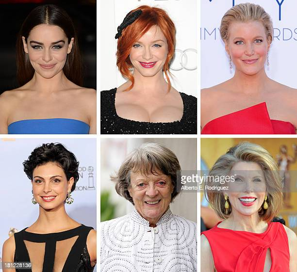 In this composite image a comparison has been made between the 2013 Emmy Nominees For Outstanding Supporting Actress In A Drama Series Actress...