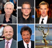 In this composite image a comparison has been made between the 2013 Emmy Nominees For Lead Actor In A Miniseries Or A Movie The Emmy Award Trophy...