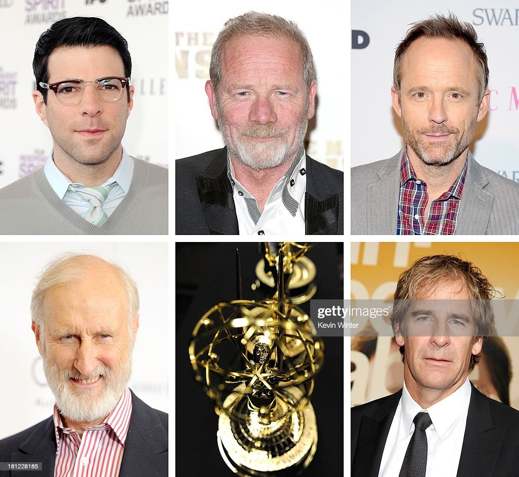 In this composite image a comparison has been made between the 2013 Emmy Nominees For Supporting Actor In A Miniseries Or Movie. Actor Scott Bakula attends the 'The Informant' benefit screening at the Ziegfeld Theatre on September 15, 2009 in New York City.