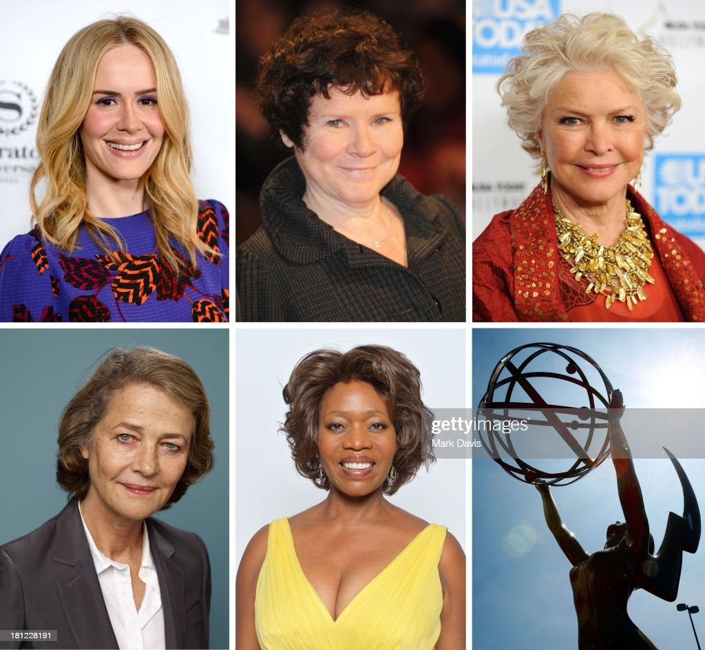 In this composite image a comparison has been made between the 2013 Emmy Nominees For Supporting Actress In A Miniseries Or A Movie. A general view of the atmosphere at the 60th Primetime Emmy Awards held at Nokia Theatre on September 21, 2008 in Los Angeles, California.