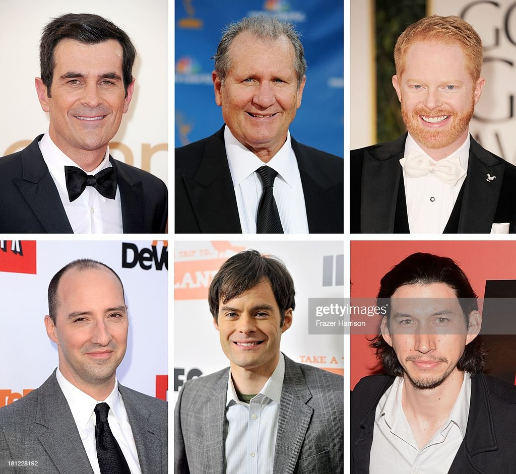 In this composite image a comparison has been made between the 2013 Emmy Nominees For Supporting Actor In A Comedy Series. Actor <a gi-track='captionPersonalityLinkClicked' href=/galleries/search?phrase=Adam+Driver&family=editorial&specificpeople=7131793 ng-click='$event.stopPropagation()'>Adam Driver</a> attends 'Red Flag' New York Screening at Sunshine Landmark on February 20, 2013 in New York City.