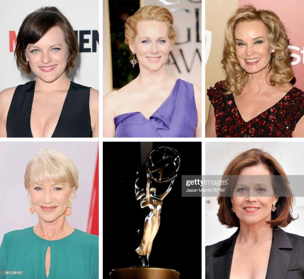 In this composite image a comparison has been made between the 2013 Emmy Nominees For Lead Actress In A Miniseries Or A Movie. Actress <a gi-track='captionPersonalityLinkClicked' href=/galleries/search?phrase=Sigourney+Weaver&family=editorial&specificpeople=201647 ng-click='$event.stopPropagation()'>Sigourney Weaver</a> attends the American Ballet Theatre opening night Spring Gala at Lincoln Center on May 13, 2013 in New York City.