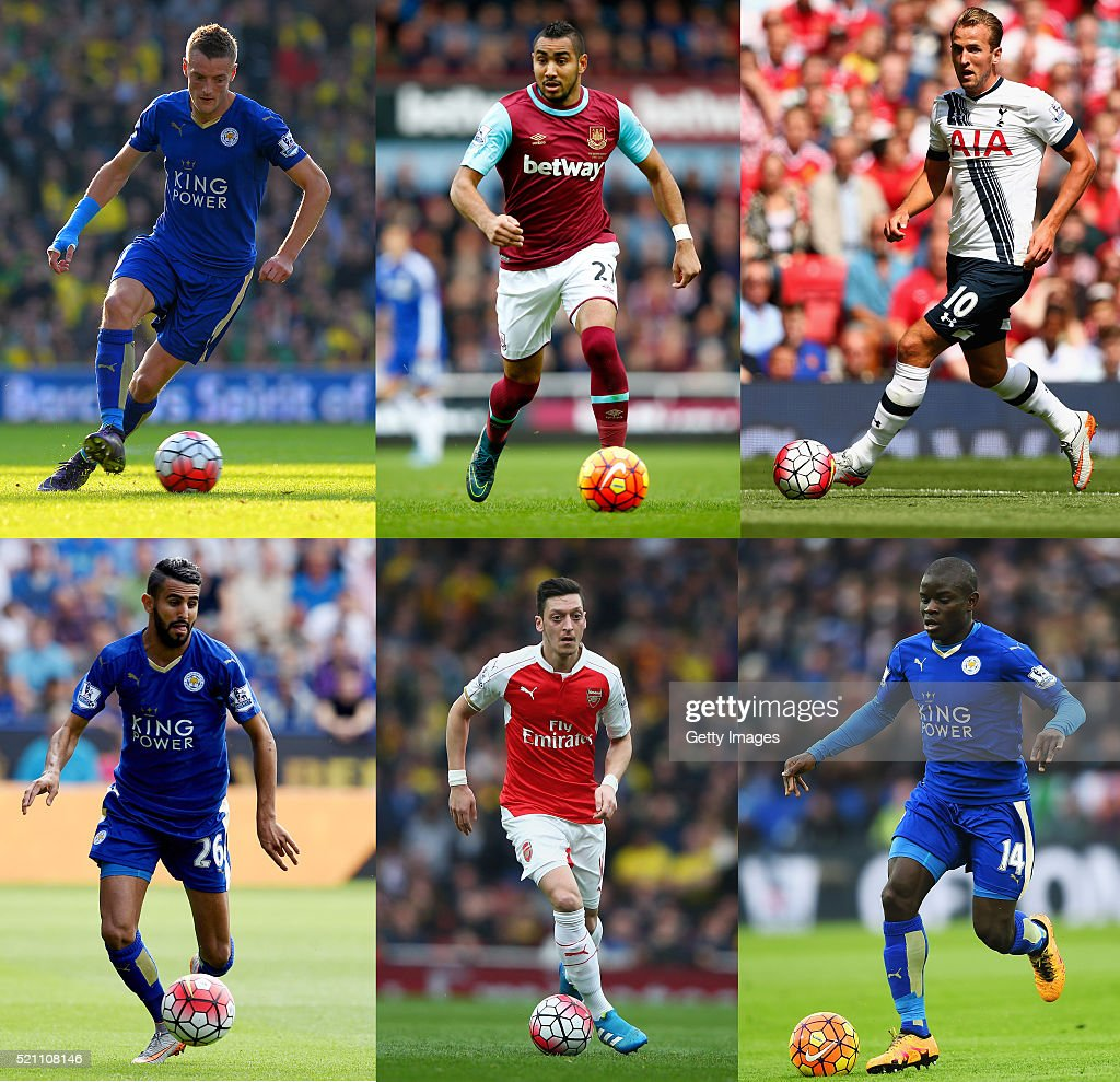 In this composite image a comparison has been made between the PFA Player of the Year 2015/16 Nominees, (First Row L-R) <a gi-track='captionPersonalityLinkClicked' href=/galleries/search?phrase=Jamie+Vardy&family=editorial&specificpeople=8695606 ng-click='$event.stopPropagation()'>Jamie Vardy</a> of Leicester City,<a gi-track='captionPersonalityLinkClicked' href=/galleries/search?phrase=Dimitri+Payet&family=editorial&specificpeople=2137146 ng-click='$event.stopPropagation()'>Dimitri Payet</a> of West Ham United and <a gi-track='captionPersonalityLinkClicked' href=/galleries/search?phrase=Harry+Kane+-+Calciatore&family=editorial&specificpeople=13636610 ng-click='$event.stopPropagation()'>Harry Kane</a> of Tottenham Hotspur, (Bottom Row L-R) <a gi-track='captionPersonalityLinkClicked' href=/galleries/search?phrase=Riyad+Mahrez&family=editorial&specificpeople=9166027 ng-click='$event.stopPropagation()'>Riyad Mahrez</a> of Leicester City, Mesut Ozil of Arsenal,N'Golo Kante of Leicester City. The PFA Awards Dinner 2016 will take place on April 24, 2016.
