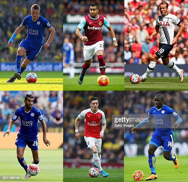 In this composite image a comparison has been made between the PFA Player of the Year 2015/16 Nominees Jamie Vardy of Leicester CityDimitri Payet of...