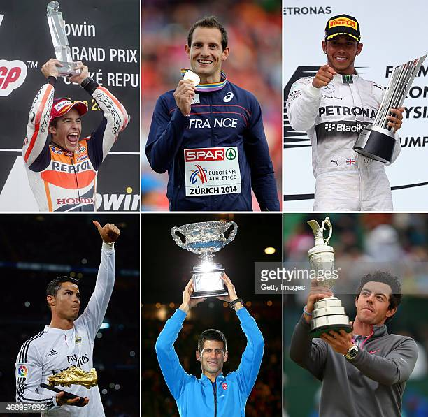 In this composite image a comparison has been made between the Laureus World Sportman Of The Year 2015 Nominees MotoGP Rider Marc Marquez of Spain...