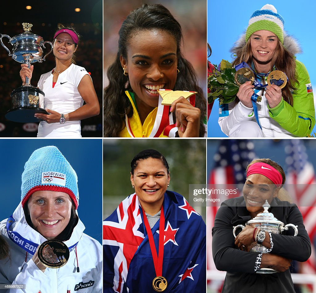 In this composite image a comparison has been made between the Laureus World Sports Woman Of The Year 2015 Nominees, (Top Row Left -Right) Tennis Player <a gi-track='captionPersonalityLinkClicked' href=/galleries/search?phrase=Na+Li+-+Tennis+Player&family=editorial&specificpeople=4485174 ng-click='$event.stopPropagation()'>Na Li</a> of China, Athlete <a gi-track='captionPersonalityLinkClicked' href=/galleries/search?phrase=Genzebe+Dibaba&family=editorial&specificpeople=5083525 ng-click='$event.stopPropagation()'>Genzebe Dibaba</a> of Ethiopia and Slalom skier <a gi-track='captionPersonalityLinkClicked' href=/galleries/search?phrase=Tina+Maze&family=editorial&specificpeople=213514 ng-click='$event.stopPropagation()'>Tina Maze</a> of Slovenia (Bottom Row Left - Right) Skiathlon <a gi-track='captionPersonalityLinkClicked' href=/galleries/search?phrase=Marit+Bjoergen&family=editorial&specificpeople=216406 ng-click='$event.stopPropagation()'>Marit Bjoergen</a> of Norway,Shotputter <a gi-track='captionPersonalityLinkClicked' href=/galleries/search?phrase=Valerie+Adams&family=editorial&specificpeople=2174723 ng-click='$event.stopPropagation()'>Valerie Adams</a> of New Zealand and Tennis Player <a gi-track='captionPersonalityLinkClicked' href=/galleries/search?phrase=Serena+Williams&family=editorial&specificpeople=171101 ng-click='$event.stopPropagation()'>Serena Williams</a> of the USA. The Laureus World Sports Awards 2015 will take place at the Shanghai Grand Theatre on April 15, 2015 in Shanghai,China.