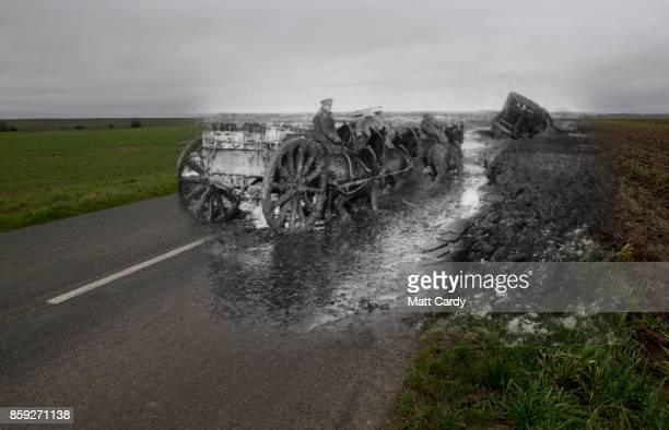 In this composite image a comparison has been made of a road outside the village of Flers This year will mark the 100th anniversary of the start of...