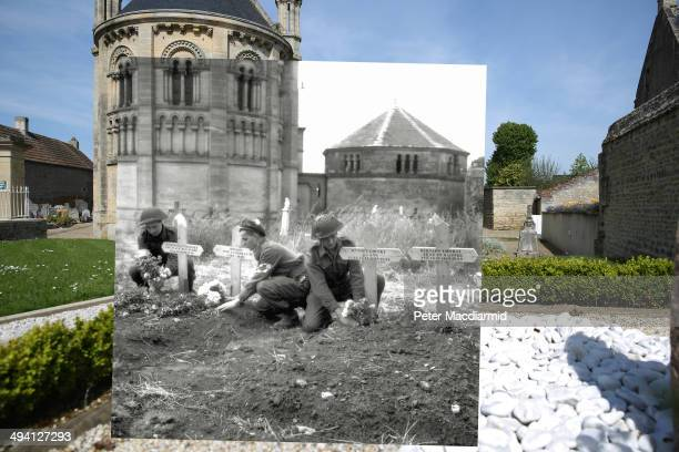 In this composite image a comparison has been made of Basly France DDay took place on June 6 1944 Image Three soldiers of the 23rd Field Ambulance of...