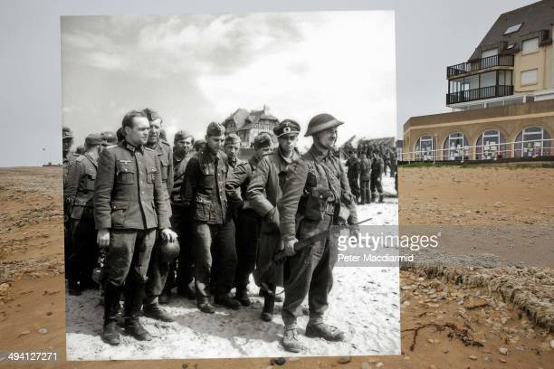 In this composite image a comparison has been made of Bernieres sur Mer France DDay took place on June 6 1944 Image A Canadian soldier stands at the...
