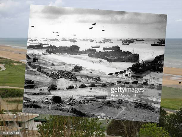 In this composite image a comparison has been made of Colleville sur Mer France DDay took place on June 6 1944 Image World War Two Invasion of France...