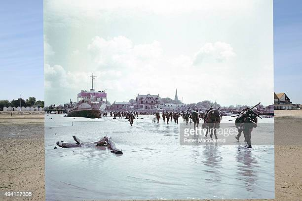 In this composite image a comparison has been made of BernieressurMere France DDay took place on June 6 1944 Image Operation Overlord Normandy Troops...