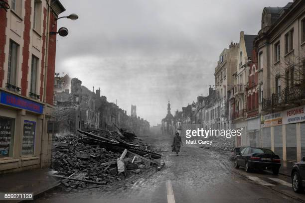 In this composite image a comparison has been made of main street of Peronne This year will mark the 100th anniversary of the start of the World War...
