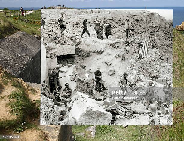 In this composite image a comparison has been made of Pointe du Hoc France DDay took place on June 6 1944 Image After the assault at the cliffs of...