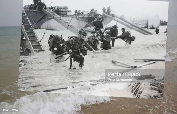 In this composite image a comparison has been made of Saint Aubin sur Mer France DDay took place on June 6 1944 Image Operation Overlord DDay 6 June...