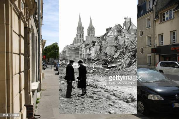 In this composite image a comparison has been made of the street in Caen France DDay took place on June 6 1944 Image An older couple watch a Canadian...