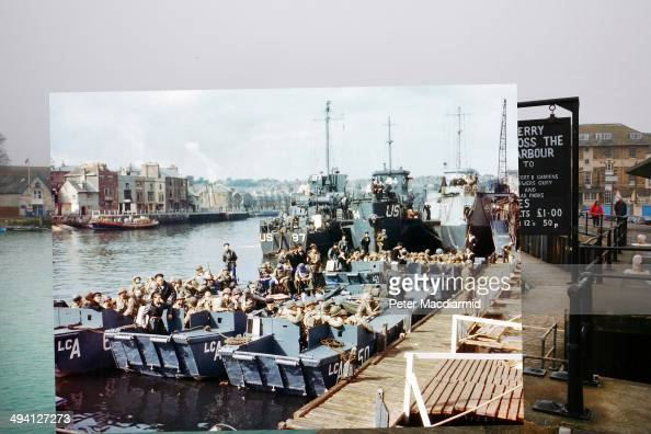 In this composite image a comparison has been made of Weymouth Harbour England DDay took place on June 6 1944 Image Boats full of United States...