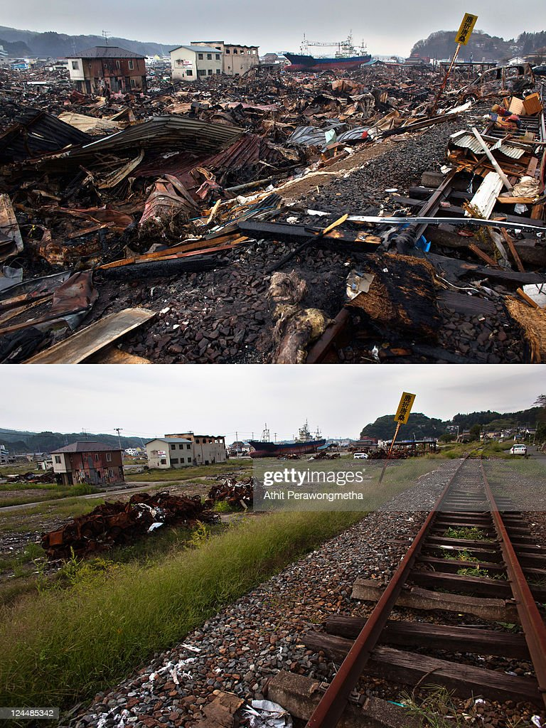 In this composite image a general view of Kesennuma is seen prior to the sixth month anniversary of the March 11 earthquake and massive tsunami on...