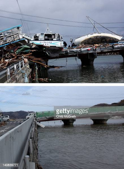 In this composite image a man climbs onto a boat wedged on a bridge on March 18 2011 and the same location as seen ahead of the one year anniversary...