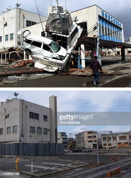 In this composite image a man walks past a car wedged into a boat on March 18 2011 and the same location as seen ahead of the one year anniversary of...
