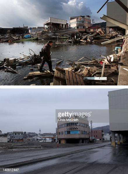 In this composite image a man walks through the rubble on March 17 2011 and the same location as seen ahead of the one year anniversary of the Tohoku...