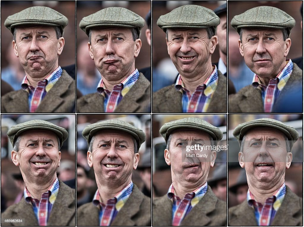 In this composite image, a racegoer reacts as he watches a race on the third day of the Cheltenham Festival on March 12, 2015 in Cheltenham, England. Thousands of racing enthusiasts are expected at the four-day festival which opened on Tuesday.