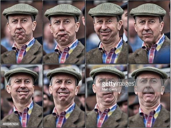 In this composite image a racegoer reacts as he watches a race on the third day of the Cheltenham Festival on March 12 2015 in Cheltenham England...