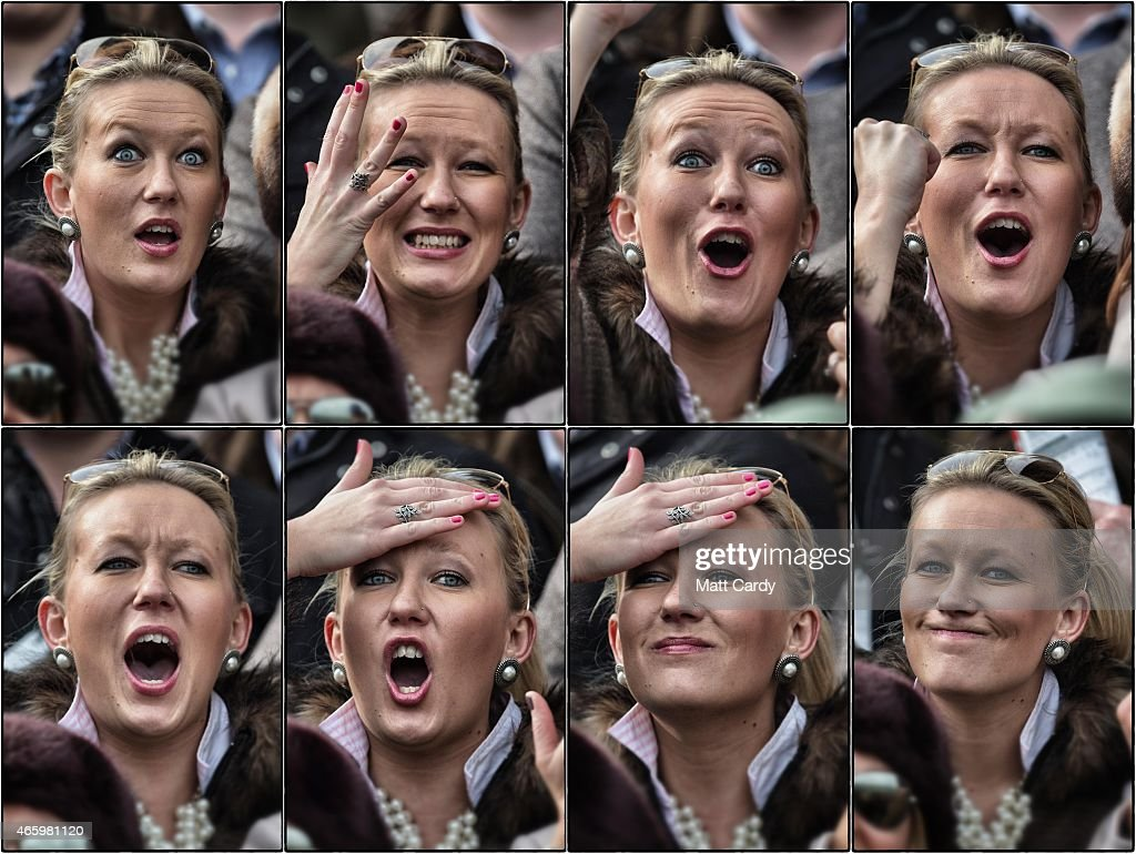 In this composite image, a racegoer reacts as she watches a race on the third day of the Cheltenham Festival on March 12, 2015 in Cheltenham, England. Thousands of racing enthusiasts are expected at the four-day festival which opened on Tuesday.