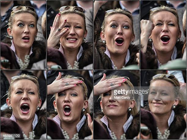 In this composite image a racegoer reacts as she watches a race on the third day of the Cheltenham Festival on March 12 2015 in Cheltenham England...