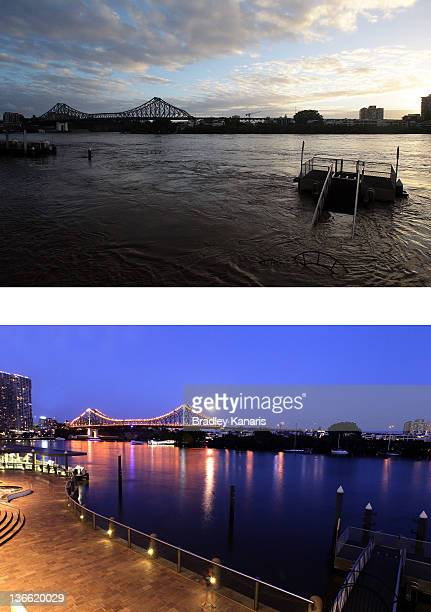 In this composite image a view of the Eagle St Pier walkways and the Story Bridge can be seen on January 9 2012 compared to a view of the Eagle St...