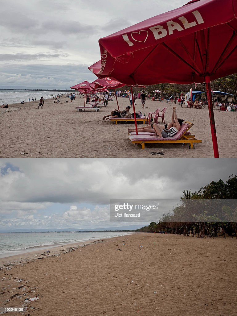 In this composite image an active Kuta Beach area is seen on March 9, 2013 and bottom, the same street is seen on Nyepi day on March 12, 2013 in Denpasar, Bali, Indonesia. Nyepi means 'Day of Silence' and is observed every new year according to the Balinese calendar. The Hindu celebration is one of self-reflection and meditation and activities such as working, watching television or travelling are restricted between the hours of 6am and 6pm. Streets are deserted during these hours occupied only by the 'Pecalang', the security team in place to monitor that the restrictions are being followed.