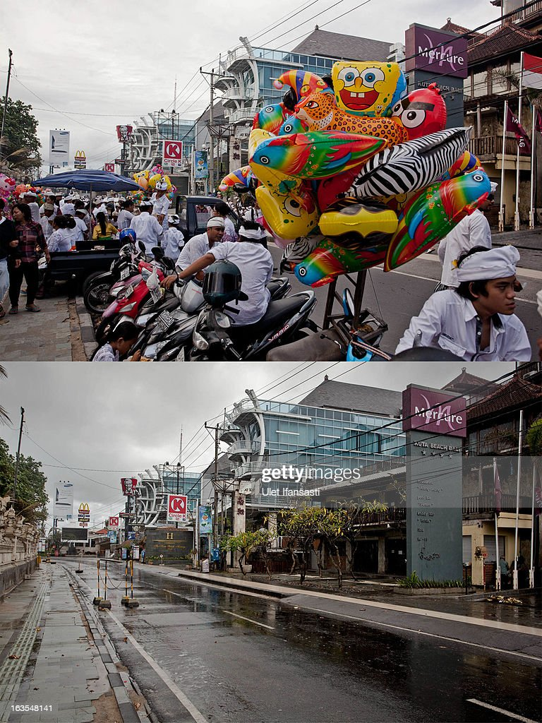 In this composite image an active Kuta Beach street is seen on March 9, 2013 and bottom, the same street is seen on Nyepi day on March 12, 2013 in Denpasar, Bali, Indonesia. Nyepi means 'Day of Silence' and is observed every new year according to the Balinese calendar. The Hindu celebration is one of self-reflection and meditation and activities such as working, watching television or travelling are restricted between the hours of 6am and 6pm. Streets are deserted during these hours occupied only by the 'Pecalang', the security team in place to monitor that the restrictions are being followed.