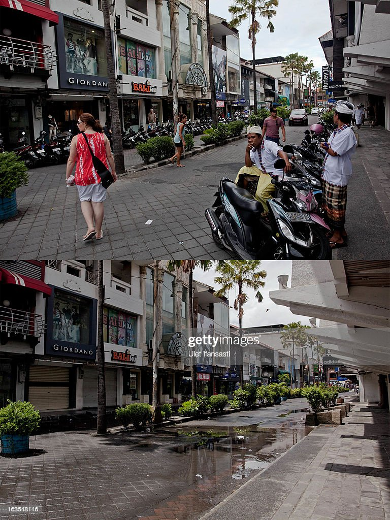 In this composite image an active Kuta Square area is seen on March 9, 2013 and bottom, the same street is seen on Nyepi day on March 12, 2013 in Denpasar, Bali, Indonesia. Nyepi means 'Day of Silence' and is observed every new year according to the Balinese calendar. The Hindu celebration is one of self-reflection and meditation and activities such as working, watching television or travelling are restricted between the hours of 6am and 6pm. Streets are deserted during these hours occupied only by the 'Pecalang', the security team in place to monitor that the restrictions are being followed.