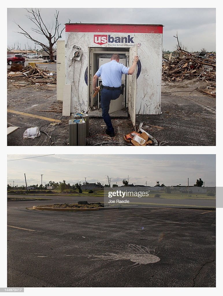In this composite image (Top Photo) Armored car courier Josh Beck works on salvaging cash from an ATM which was damaged and tossed approximately 20 feet when a massive tornado passed through the town on May 22, 2011 in Joplin, Missourii. (Bottom Photo) One year after the tornado the ATM machine and rubble have been removed on May 20, 2012. Tuesday will mark the one-year anniversary of the EF-5 tornado that devastated the town. The tornado left behind a path of destruction along with 161 deaths and hundreds of injuries, but one year later there are signs that the town is beginning to recover