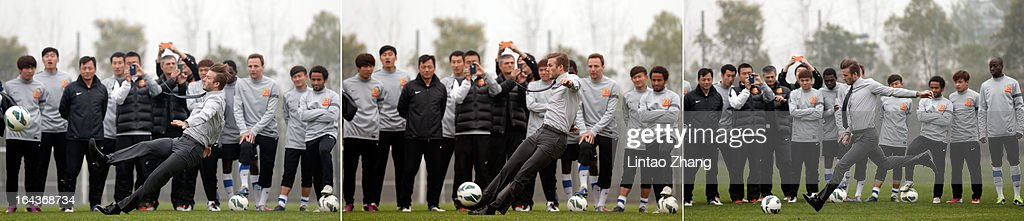 (Original image IDs are (L-R) 164358151, 164358147 and 164358130) In this composite image British football player David Beckham slips as he kicks the ball during a visit to Wuhan Zall Football Club at Wuhan Hubei Province on March 23, 2013 in Wuhan, China. Beckham is on a five-day visit to China at the invitation of the China Football Association as China's first international ambassador.