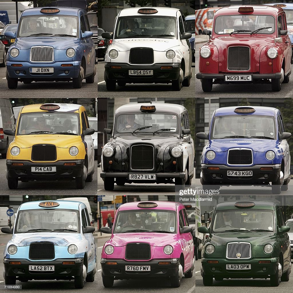 In this composite image, London taxi cabs of many different colours are seen on May 24, 2006 in London, England. There are over 19,000 licensed taxis in London. To obtain a taxi cab drivers licence every driver must pass the toughest examination in the world know as 'The Knowledge'.