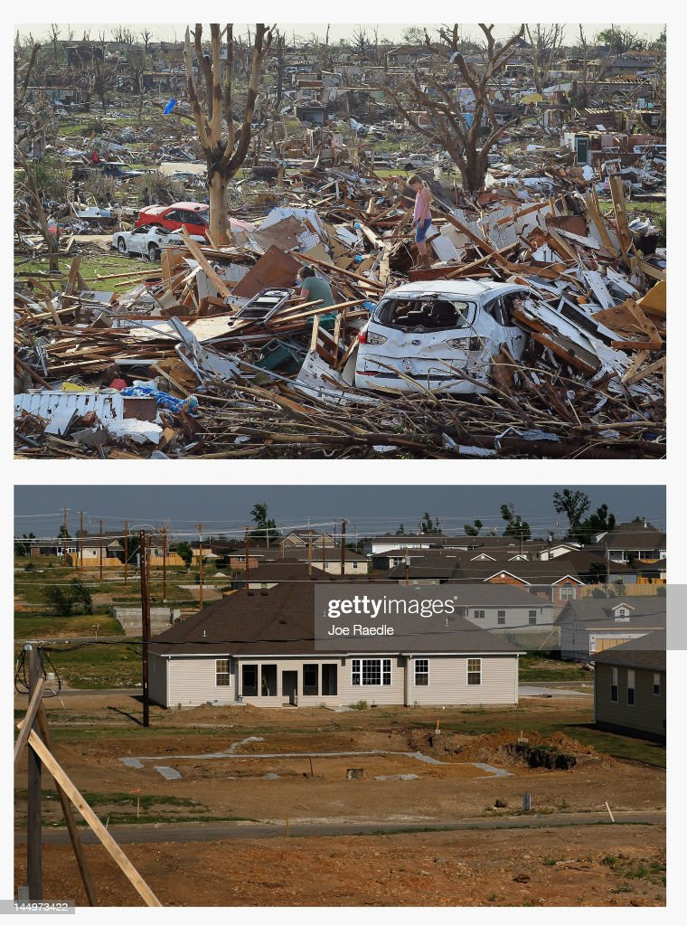 In this composite image (Top Photo) Maddie Meek,9, and her mother Dina Meek salvage what they can from her sister-in-law's home after it was destroyed when a massive tornado struck on May 22, 2011 in Joplin, Missourii. (Bottom Photo) One year after the tornado the destroyed buildings and rubble have been removed and new homes have been built on May 20, 2012. Tuesday will mark the one-year anniversary of the EF-5 tornado that devastated the town. The tornado left behind a path of destruction along with 161 deaths and hundreds of injuries, but one year later there are signs that the town is beginning to recover