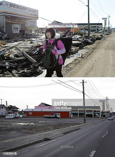 In this composite image Miyuki Komatsu walks back to her home March 18 2011 and the same location as seen ahead of the one year anniversary of the...