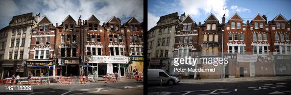 In this composite image People walk past firedamaged shops and flats in Clapham Junction on August 10 2011 in London England The boarded up buildings...