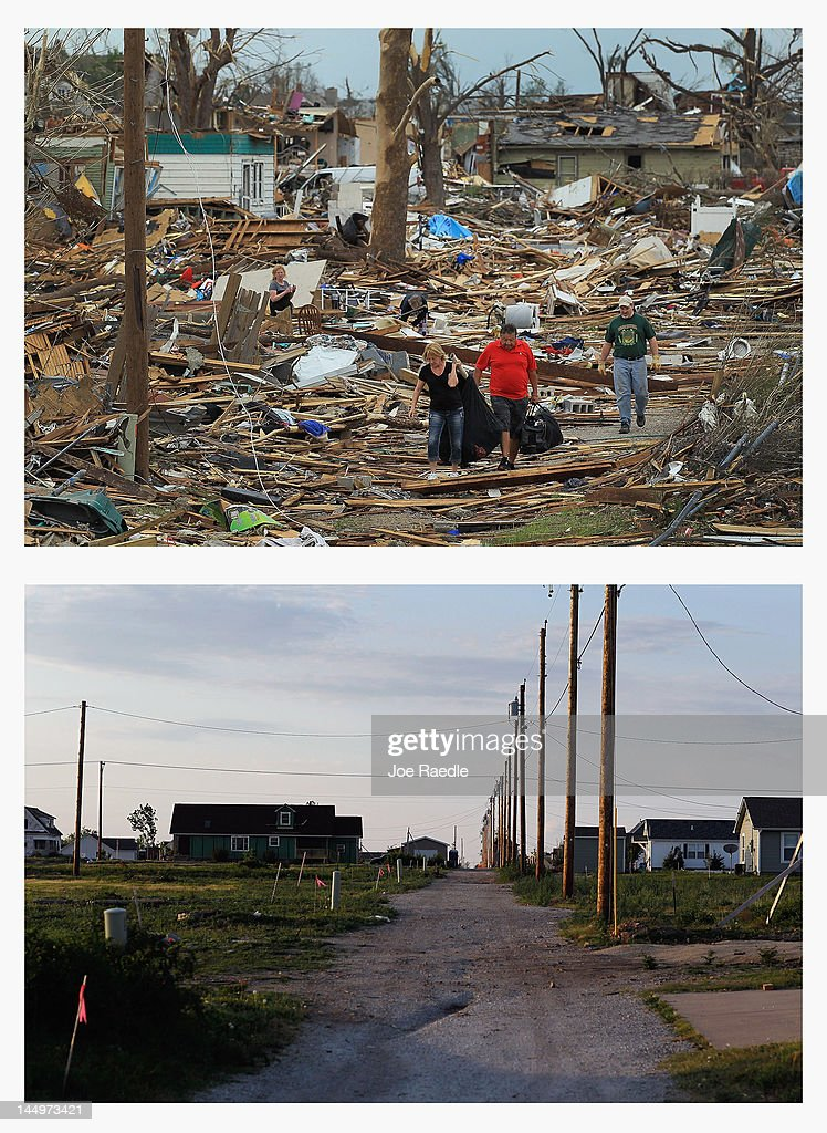 In this composite image (Top Photo) People walk through the rubble after a massive tornado struck on May 22, 2011 in Joplin, Missourii. (Bottom Photo) One year after the tornado the destroyed buildings and rubble have been removed and new homes have been built on May 20, 2012. Tuesday will mark the one-year anniversary of the EF-5 tornado that devastated the town. The tornado left behind a path of destruction along with 161 deaths and hundreds of injuries, but one year later there are signs that the town is beginning to recover