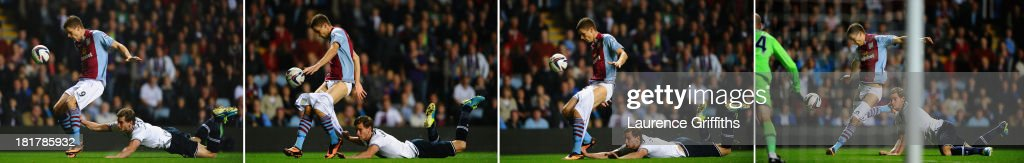 In this composite image sequence, Jan Verttonghen of Tottenham Hotspur hangs on to the shorts of <a gi-track='captionPersonalityLinkClicked' href=/galleries/search?phrase=Nicklas+Helenius&family=editorial&specificpeople=8797037 ng-click='$event.stopPropagation()'>Nicklas Helenius</a> of Aston Villa during the Capital One Cup third round match between Aston Villa and Tottenham Hotspur at Villa Park on September 24, 2013 in Birmingham, England.