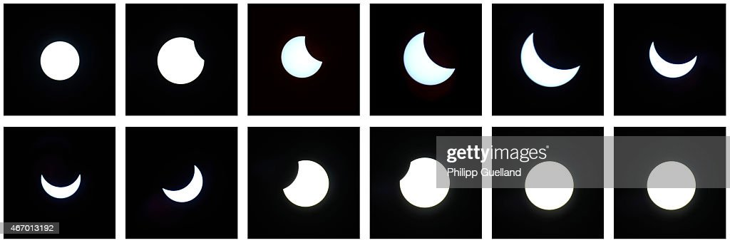 In this composite image, the Moon passes between the Sun and the Earth to create a partial solar eclipse on March 20, 2015 in Garmisch-Partenkirchen, Germany. Over Central Europe the moon was scheduled to cover approximately 75% of the sun for a short period starting at approximately 9:30am. The next solar eclipse will not occur until 2021.