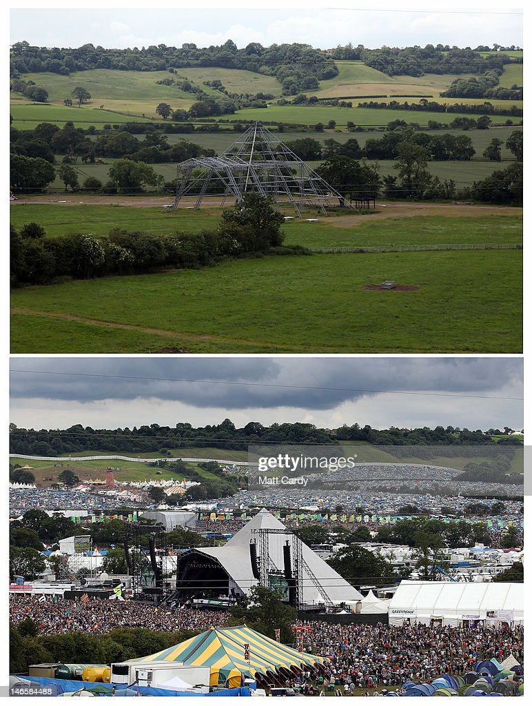 In this composite image the skeleton of the main Pyramid Stage at the Glastonbury Festival site at Worthy Farm, Pilton is seen in the top image contrasts with the same view taken during the Festival in 2011 on June 20, 2012 near Glastonbury, England. Today would have been the day that the gates would have opened for what has become Europe's biggest music festival, but because of the London 2012 Olympics it was decided by the organisers to take this year off. However, this week it was announced that the festival - which started in 1970 when several hundred festival-goers paid 1 GBP to watch Marc Bolan and has now attracts more than 175,000 people over five days - will feature in a mosh-pit style tribute in the opening ceremony of the London 2012 Olympic Games. The Festival will return in June 2013.