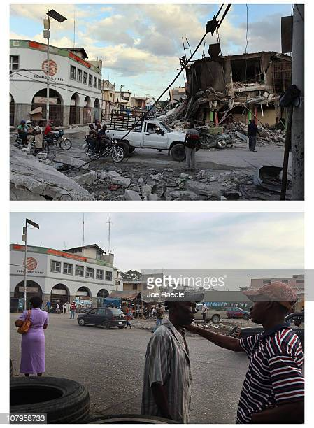 In this composite image Traffic moves infront of destroyed buildings days after the massive earthquake struck January 16 2010 in PortauPrince Haiti...