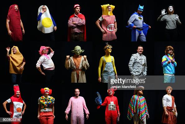 In this composite of 18 images darts fans wear a fancy dress while attending Day Eleven of the 2016 William Hill PDC World Darts Championships at...