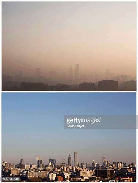 In this composite of two images a view of the the skyline of the city can be seen from top to bottom as severe smog lifted from morning and cleared...