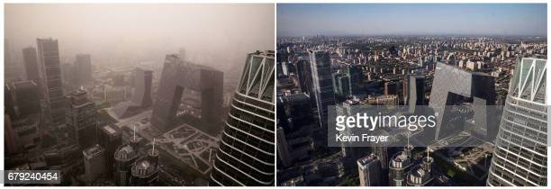 In this composite of two images taken a day apart the Central Business District is seen during a heavy sandstorm on May 4 2017 and then after winds...